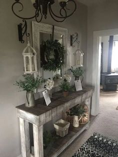 : Beautiful Entry Table Decor Ideas to give some inspiration on updating you.- : Beautiful Entry Table Decor Ideas to give some inspiration on updating your house or adding fresh and new furniture and decoration. Farmhouse Entryway Table, Rustic Entryway, Farmhouse Wall Decor, Entryway Decor, Rustic Farmhouse, Farmhouse Style, Entryway Ideas, Farmhouse Design, Apartment Entryway