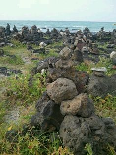 [돌문화] 협재해수욕장 근처, 수평선을 바라보고 있는 사람들의 소망을 쌓은 돌탑밭 #카톡 나은영 님