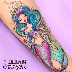 61 Dainty Mermaid Tattoos to Flaunt This Summer cute mermaid tattoo Girly Tattoos, 1000 Tattoos, Disney Tattoos, New Tattoos, Body Art Tattoos, Kawaii Tattoos, Feminine Tattoos, Hawaiianisches Tattoo, Piercing Tattoo