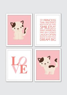Baby Girl Nursery Art, Cat Print, Kitty Art, Cat Nursery Art, Wall Print, Baby Girl Quote Print, Love Quote Nursery Art