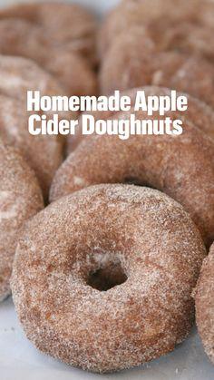 Easy Donut Recipe, Baked Donut Recipes, Fun Baking Recipes, Apple Recipes, Cinnamon Cake Donut Recipe, Dessert Recipes, Cooking Recipes, Apple Cider Doughnut Recipe, Baked Donuts