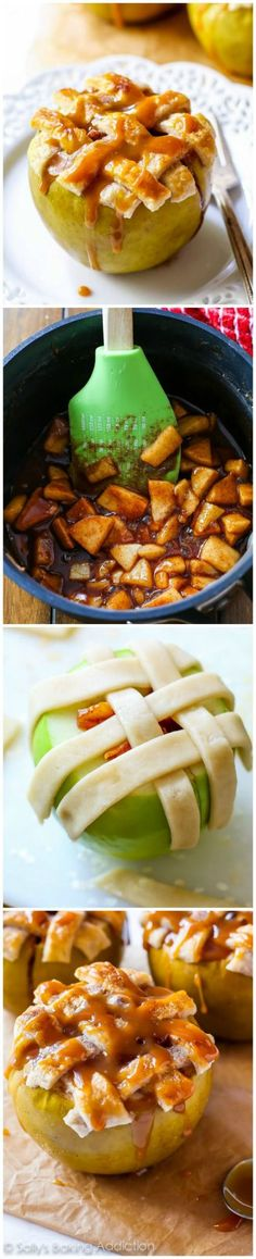 One of my favorite things to make in the Fall! Apple pie baked in apples with a lattice crust on top. Delicious and FUN!