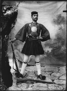 """thereminsoul: """" Leonidas Papazoglou, Georgios Tsirsiotis, Greek Guerilla Fighter from the Town of Siatista """" Turkish Soldiers, As Time Goes By, Carnival Costumes, Guerrilla, Father And Son, Revolutionaries, Greece, Goth, History"""