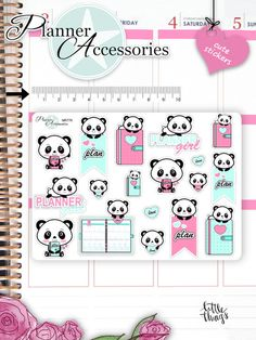 Sticker - Kawaii Panda Sticker Kawaii Panda Stickers NR776 - ein Designerstück von PlannerAccessories bei DaWanda