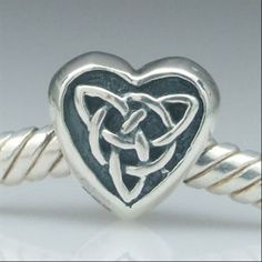Celtic Knot Triquetra Heart Authentic 925 Sterling Silver Core Charm Love