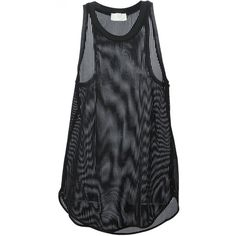 Forte Forte Mesh Vest Top ($122) ❤ liked on Polyvore featuring tops, tanks, shirts, sleeveless, black, loose shirts, loose tank, black tank top, black mesh top and black tank