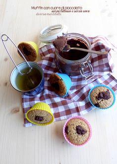 muffin con cuore di cioccolato #senzalattosio #senzauova