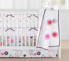 Margherita Missoni for Pottery Barn Kids Pom Pom Daisy Baby Bedding // pompom crib bedding, pompom nursery, pink pom pom baby bedding