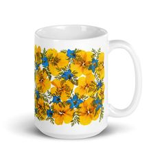Yellow and Blue Mug, Flower Lover Gift, Floral Glossy Mug Flower Frame, Flower Art, Beatles Poster, Floral Wall Art, Butterfly Art, Love To Shop, Gift For Lover, Dried Flowers, Unique Art