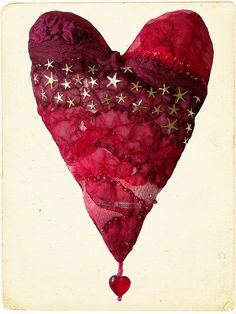Red heart with stars.  Layers of melted plastic, chiffon and acetate with beaded details and text. Carolyn Saxby - Mixed Media Textile Art