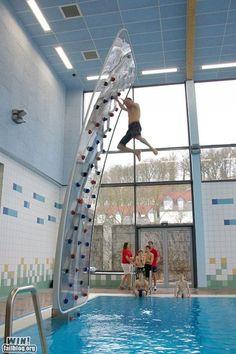 pool rockclimbing wall