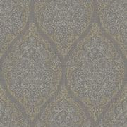 Grandeco Boho Chic Silver and Gold Damask on Dark Grey Wallpaper 10m Roll