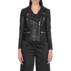 Jett cropped leather jacket (€440) ❤ liked on Polyvore featuring outerwear, jackets, black, zipper jacket, black collared jacket, black jacket, cropped jacket and leather jacket