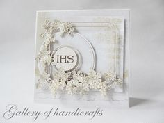 First Holy Communion Card with chipboards & half-pearls (Gallery of Handicrafts) First Communion Cards, First Holy Communion, Scrapbook Paper Crafts, Scrapbooking, Baptism Gifts, Handicraft, Christening, Holi, Cardmaking