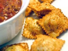 Fried Ravioli-- can use store-bought ravioli (cheese or meat, or both!)  These were pretty yummy!