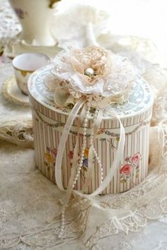 Beautiful covered box http://marymcshane.hubpages.com/hub/101-Prettiest-Pinterest-Shabby-Chic-My-Picks