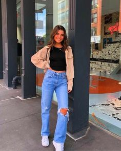 Women Jeans Outfit Leopard Print Maxi Dress Plus Size Outfits Dark Khaki Pants Blue Summer Dress Womens Parka Coats With Fur Hood Jeans And Heels Outfit – yuccarlily Teen Fashion Outfits, Mode Outfits, Jean Outfits, Look Fashion, Fall Outfits, Club Outfits, Spring Outfits For Teen Girls, 80s Womens Fashion, Party Outfits