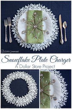 Super easy Dollar Store craft: Snowflake Plate Charger {My Crafty Spot} http://www.3littlegreenwoods.com