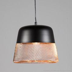Suspension ajourée en métal noir et fil de fer cuivré diamètre 32cm Tofua Inspire port offert