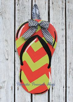 Chevron Flip Flop Wooden Door Hanger Art by PatrioticPeacockShop on etsy Perfect for my front door this summer!!!