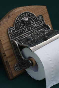 Victorian Toilet Roll Holder. A perfect reproduction of one first made by the Sanitary Paper Company in 1884. Shown in nickel, also in brass. http://www.priorsrec.co.uk/nickel-toilet-roll-holder/p-41-42-386