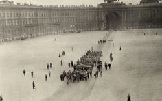 """Members of the WWI women's """"Battalion of Death"""" march across a square. #war #history #WWI  Location:Petrograd, Russia."""