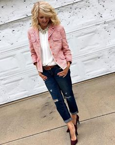 Pretty in Pink - Style Bloggers Over 40 | Pink jewelry outfit ideas
