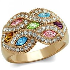CJE098 Multicolor Crystal IP Rose Gold Ring - Rose Gold Rings - Rings