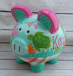 Personalized Piggy bank Mermaid artisan hand by Alphadorable Pottery Painting, Ceramic Painting, The Little Couple, Personalized Piggy Bank, Piggly Wiggly, Cute Piggies, Hand Painted Ceramics, Baby Shower Gifts, New Baby Products
