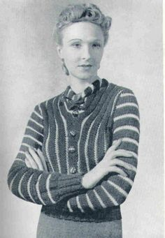 1930's Sweater Vintage Knitting Pattern PDF TWO by PamoolahVintage, $3.50 knit side to side in 2 different yarn weights. Relatively large needles. What's with the neck?