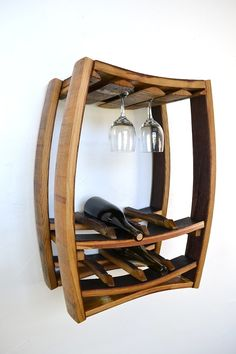 Hanging Wine Barrel Rack with glass by winecountrycraftsman