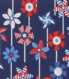 Holiday Inspirations Patriotic Fabric- Patriotic Pinwheels Metallic
