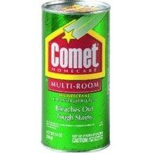 Have a stain on the kitchen counter?  Sprinkle some comet on it, wet it down enough to make a paste, and let it dry.  Once dry, wipe with a damp cloth and your stain will be gone.  This works with grape juice, Kool-aid, and virtually any other stain your kids can create!