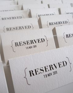 Our 'reserved' style Save The Date invites, simple and cute! #thermography #savethedate #simple