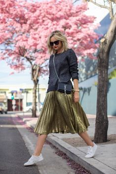 PINK TREES GOLD SKIRT-1