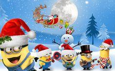 Santas Minions Cross Stitch Pattern***L Minions Bob, Minions Despicable Me, Minion Humor, Funny Minion, Christmas Cartoon Characters, Christmas Cartoons, Minion Christmas, Cute Winnie The Pooh, Happy Birthday Minions