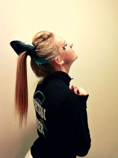 I miss cheer hair sometimes. -_- but other times I soooo do not miss the tons of hairspray and ponytail holders all over! Cheer Qoutes, Cheerleading Quotes, Cheer Stunts, Cheer Dance, Cheer Sayings, Cheerleading Hair, Gymnastics Quotes, Cheerleading Pictures, Olympic Gymnastics