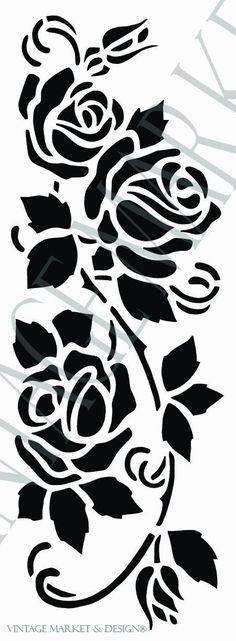 Cottage Rose Vine Stencil-9876 , VM&D Stencils - Vintage Market And Design, Vintage Market And Design  - 1