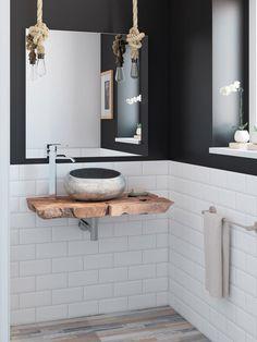 Baño: lavabo sobre encimera demadera