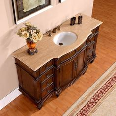 Amazon.com: Silkroad Exclusive Gorgeous Travertine Ceramic Top Single Sink Bathroom Vanity with Cabinet, 60-Inch: Home & Kitchen