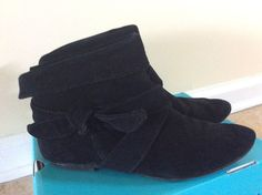 KAYA BLACK ANKLE BOOTS GENUINE SUEDE LEATHER WITH  STRAPS FLAT BOOT Size 8.5 #Kaya #AnkleBoots