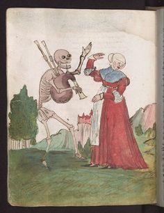 Смерть, дай пять! Wilhelm Werner von Zimmern, Cod. Don. A III 54, fol. 101v, Der Bruder 1540-50