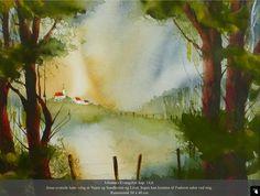Painting Process, Pictures To Paint, Vibrant Colors, Watercolor, Landscape, Nature, Inspiration, Art, Pen And Wash