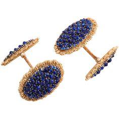 Buccellati Sapphire Gold Cufflinks | From a unique collection of vintage cufflinks at https://www.1stdibs.com/jewelry/cufflinks/cufflinks/