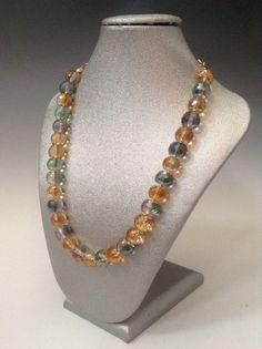 """Sunburst necklace"" Glass crystal, gold overlay by ScarletMareStudio matching bracelet also available.  $52"