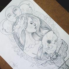 .@wendyortizart | Concept sketch for a commissioned tattoo design ☪ | Webstagram - the best Instagram viewer