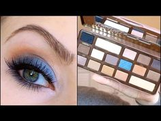 A Makeup Tutorial Using Semi Sweet Chocolate Bar Makeup Palette Eye Makeup Red Dress, Makeup For Green Eyes, Blue Makeup, Chocolate Bar Makeup, Chocolate Bar Palette Looks, Chocolate Bars, Too Faced Semi Sweet, Diy Beauty Treatments, Blue Eyeshadow