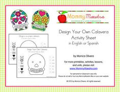 Roll the die and decorate your own calavera using the options provided. Available in English and Spanish. Bilingual Calavera Activity.  #printable #dayofthedead
