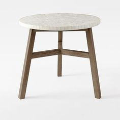 Mosaic Tiled Bistro Table - White Marble Top + Driftwood Base