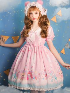Sweet Lolita Dress OP Candy Paradise Pink Chiffon Sailor Collar Printed Bow Lace Lolita One Piece Dress